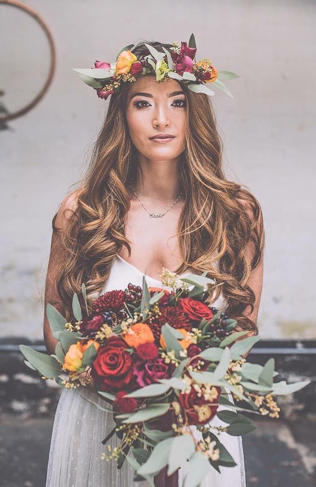 wedding flowers headdress and bouquet
