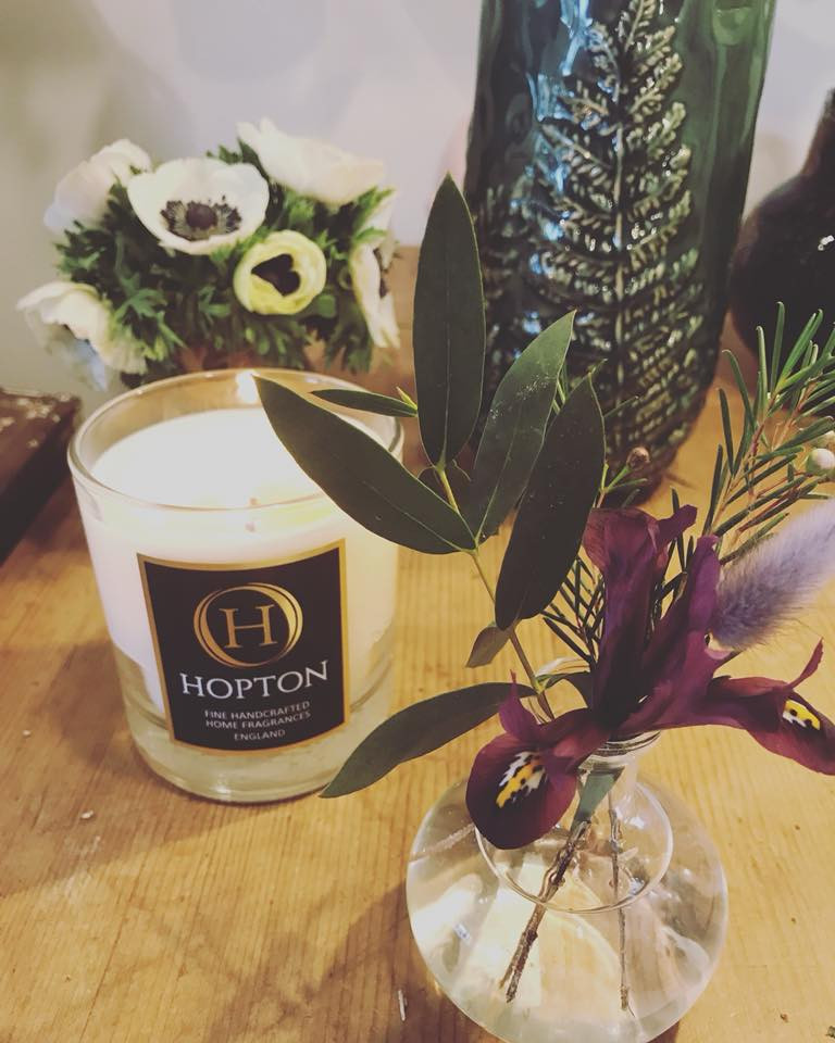 hopton candle and table flowers