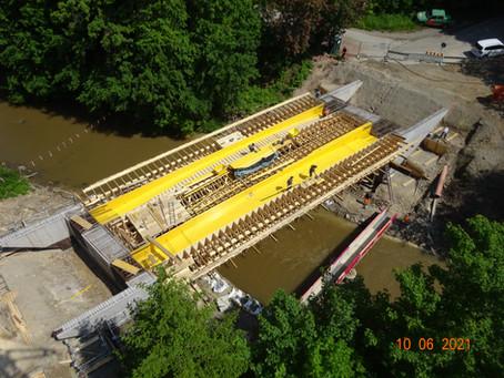 Schalung für den Unterbau der Neckarbrücke in Rottweil