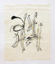 13.5 x 11.25 in Ink and pencil on rice paper G, M, Bh, and N