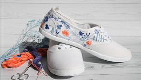 DIY Upcycled Sneakers: How to Embroider Canvas Shoes At Home