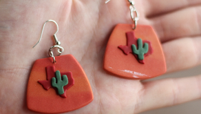 DIY Texas-themed Polymer Clay Earrings: Easy Step-By-Step with Mermaid Groove