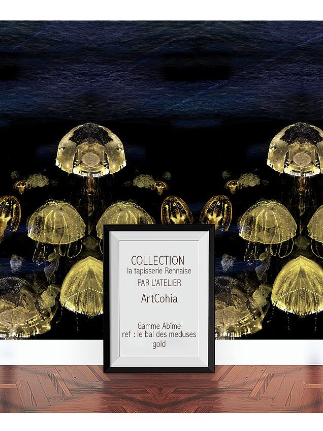 Atelier Artcohia-tapisserie-rennaise-ref-le bal des meduses-black-water-dark-gold