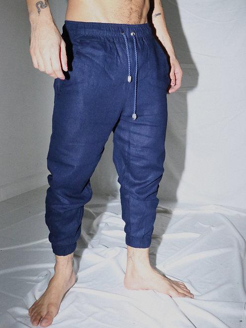 Calça azul marinho de linho (NOVA)