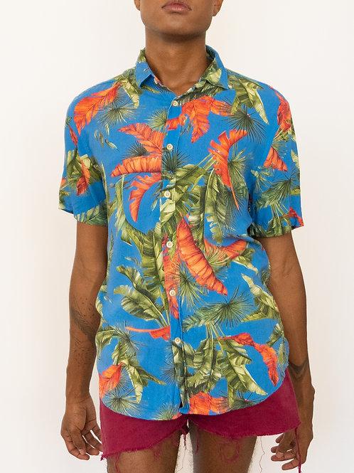 Camisa Estampada Azul Tropical