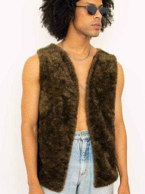 Colete Fur: Damásio Collab (Marrom)