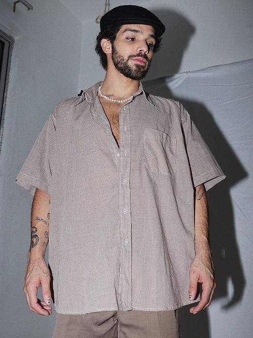 Camisa quadriculada marrom