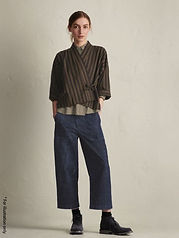 Wide pants with back elastic band