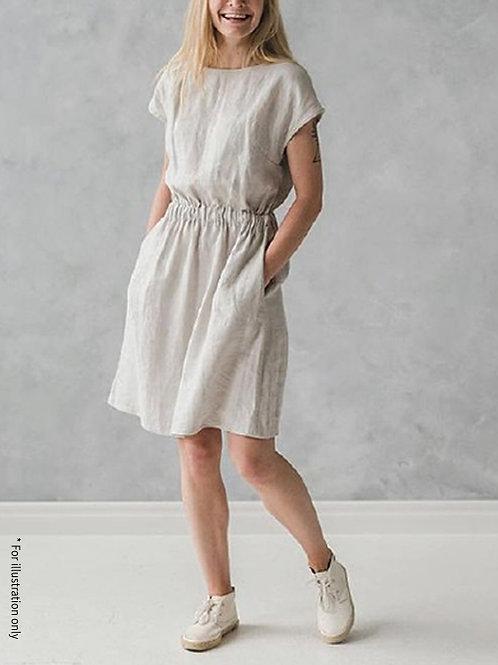 Straight dress with elastic waist