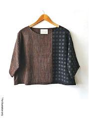 Mixed fabrics wide shirt