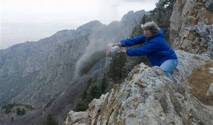 Mountainside ash acattering by International Scattering Society at Sandia Peak, NM