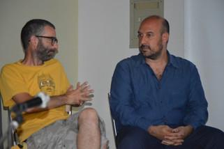 Il critico d'arte Paolo Cova e l'artista Andrea Ravo Mattoni