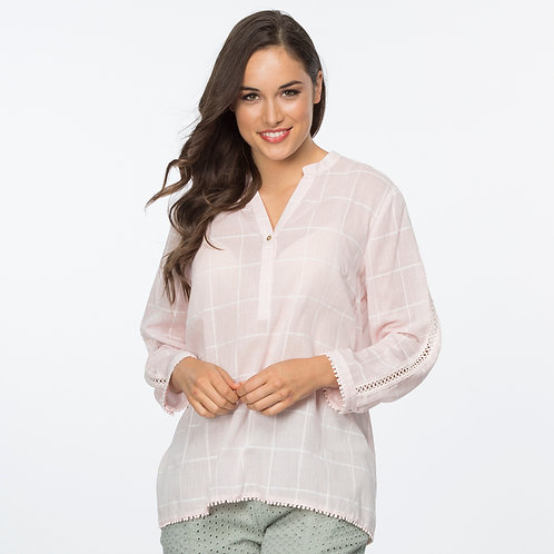 Clarity self-check lace inset top
