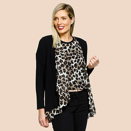 Animal Print Trim Cardigan