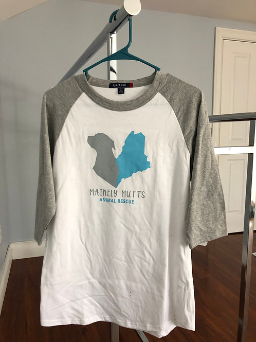 Youth Baseball T-Shirt – White/Gray