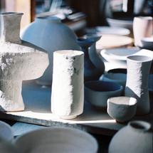 Glazed forms, pre-firing, at Balmoral