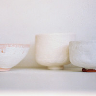 Glazed teabowls, pre-firing