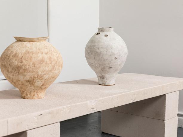 Grace I (Hydria), Grace III (Sandblasted Salt); Installation view