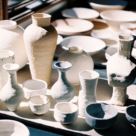 Glazed forms, pre-firing, at Balmoral