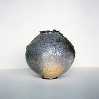 Woodfired Shino Moon with ash deposits, from the throat