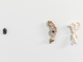 TS002 (Blue Thumbprint), TS019 (Magma Sand Two Hands), TS020 (Magnesium Two Palms); Installation view
