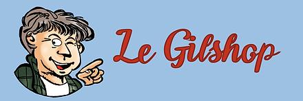 Bannière de la Boutique représentée par une caricature de Gilson.