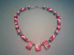 Halsketting roze/zilver