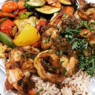 Jerk Shrimp, Coconut Rice