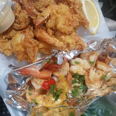 Jumbo Shrimp 2 Ways, Scampi and Fried