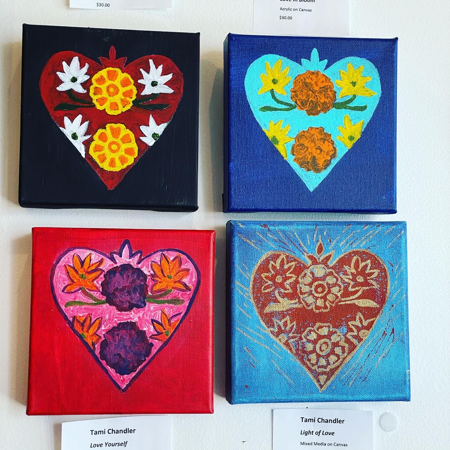 Mini Heart Canvases