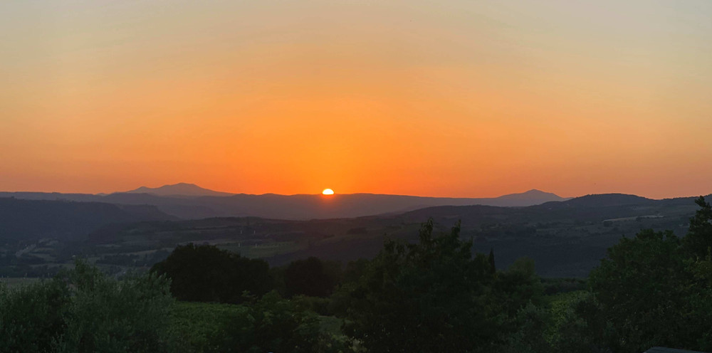 gorgeous sunset amidst the Amerini mountains in Umbria, Italy