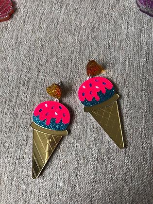 Ice Cream Cone Acrylic Oversized Earrings