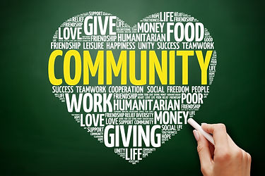 Community heart word cloud collage, conc