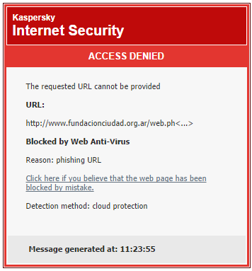 Warning Phishing Site detected