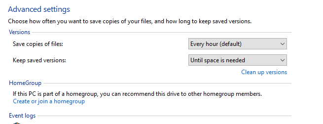 Advanced Setting for File History