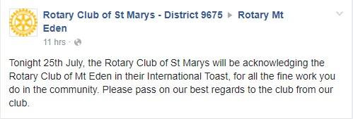 We also received a wonderful and very kind message from Rotary Club of St Marys - District 9675, NSW. Here's to the next 20 years everyone!