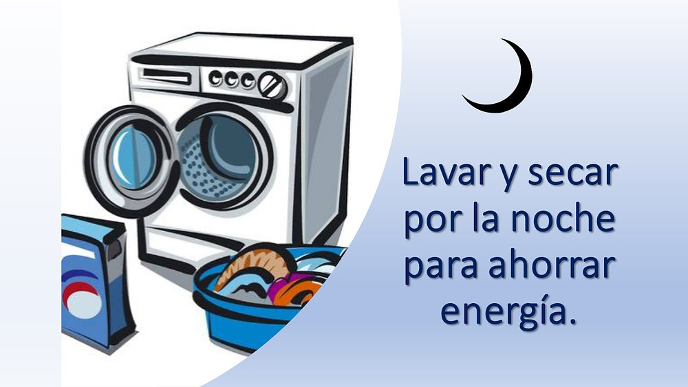 imagen de una lavadora de ropa y texto Lavar y secar por la noche para ahorrar energía