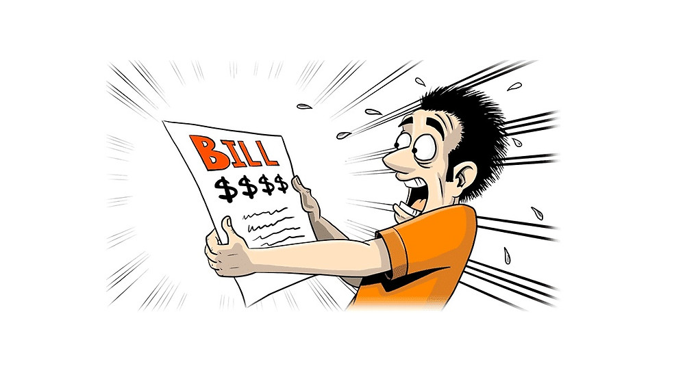 Image os a guys surprised of his energy bill.