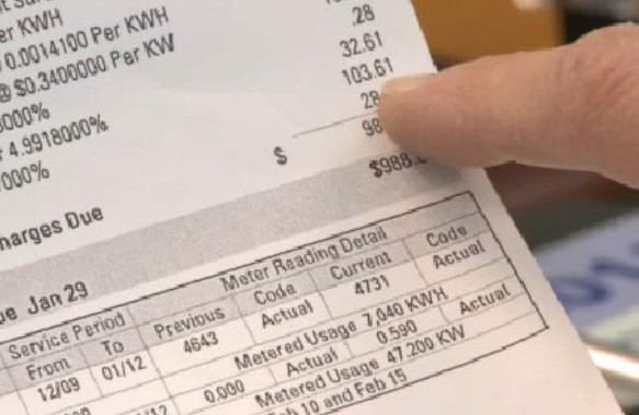 Image of an electricity bill
