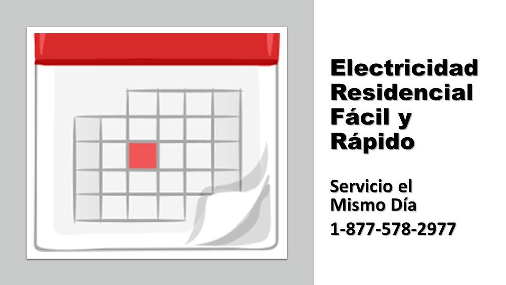 calendario mostrando el día de conexión de electricidad.