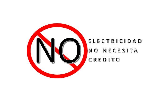 Imagen con texto Electricidad No Necesita Crédito