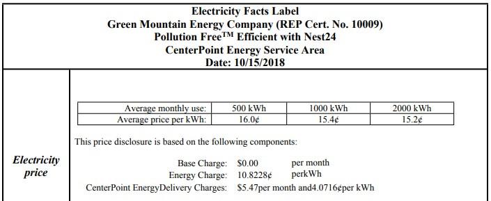 Image of Green Mountain Energy EFL plan