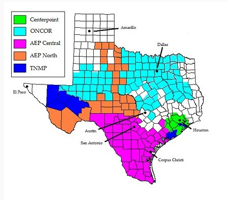 Map of Texas Utilities