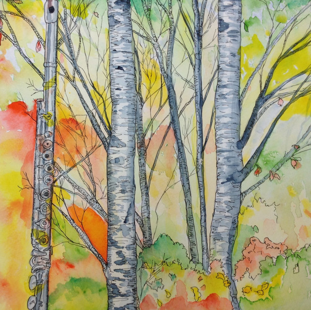 Flute and Birch Trees