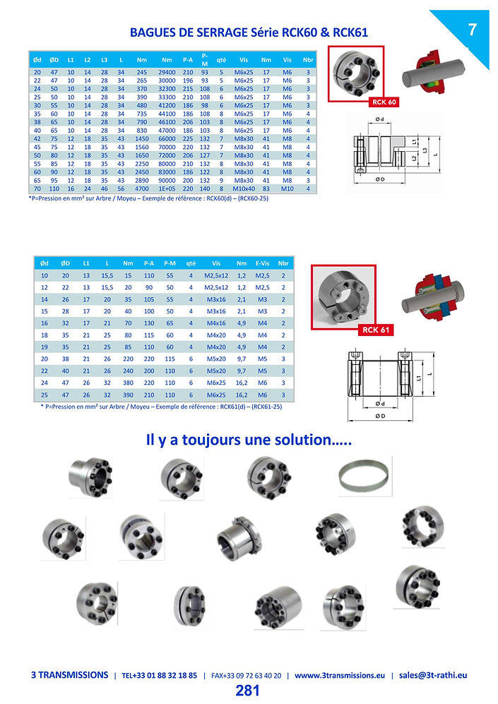Moyeu expensible RCK70 équivalence bague RingBlock | 3 Transmissions
