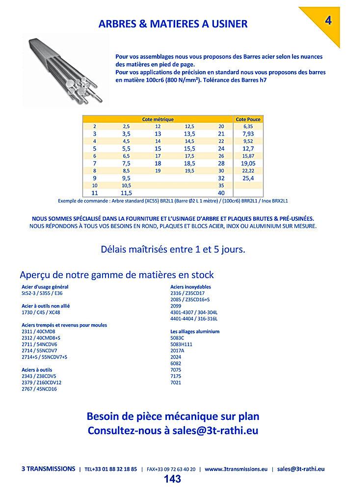 Arbres et matieres acier | 3 Transmissions