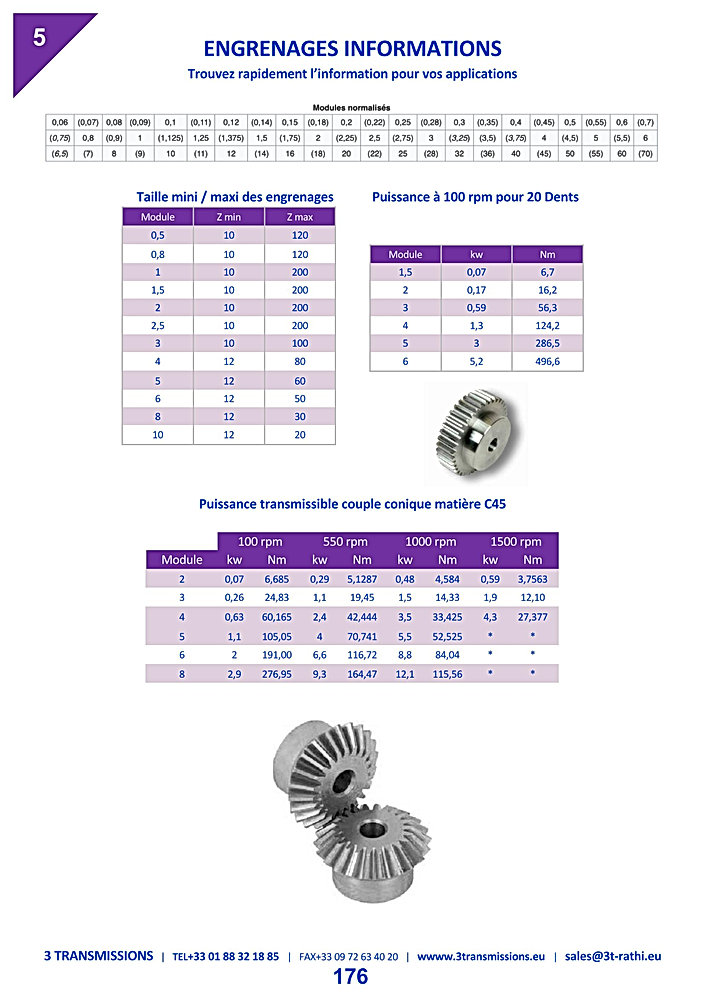 Performances techniques engrenages aciers | 3 Transmissions