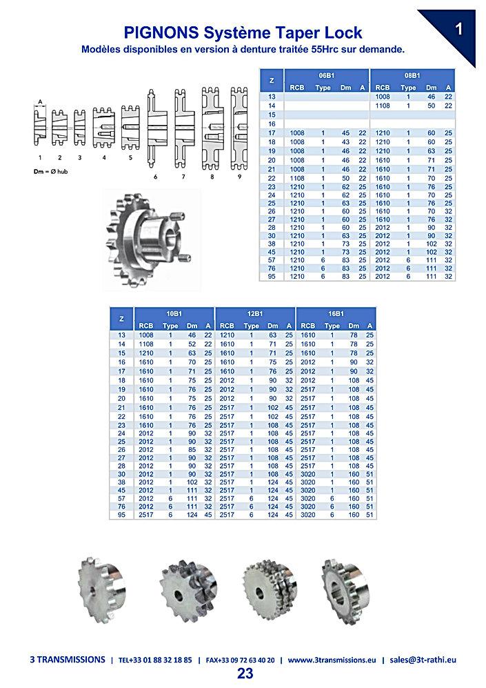 Pignons moyeu amovible chaines de transmission  | 3 Transmissions