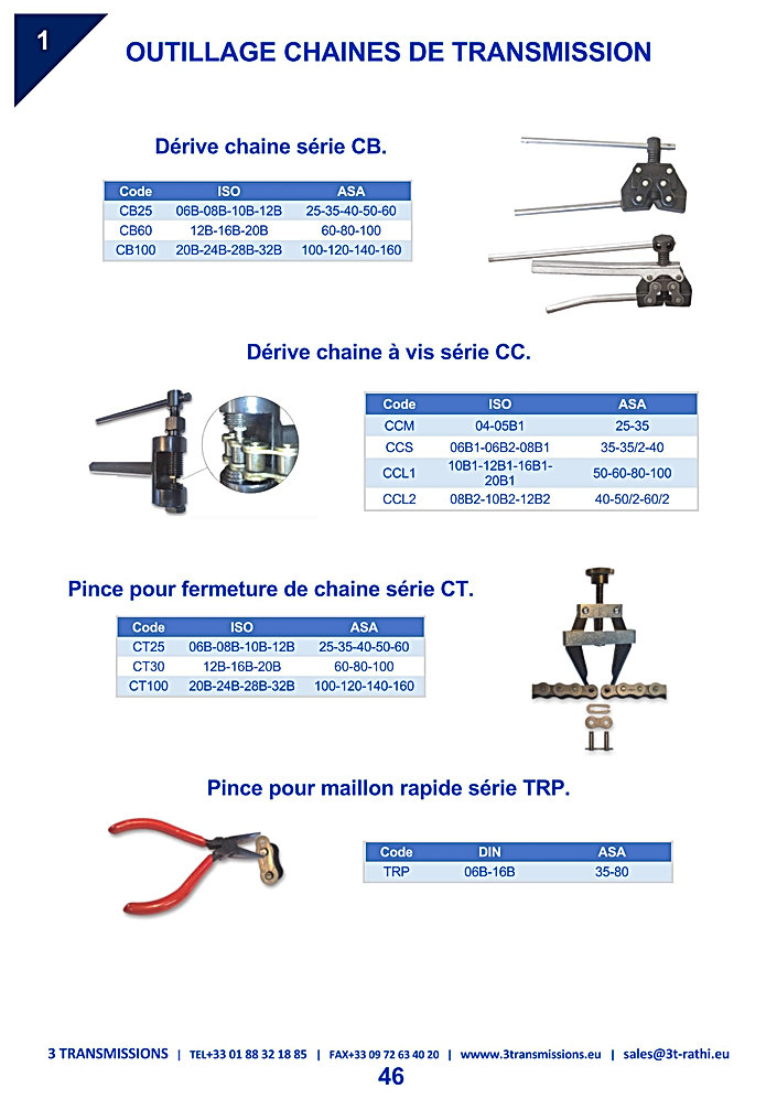 Outillages chaines transmission, outils maintenance chaine transmission | 3 Transmissions
