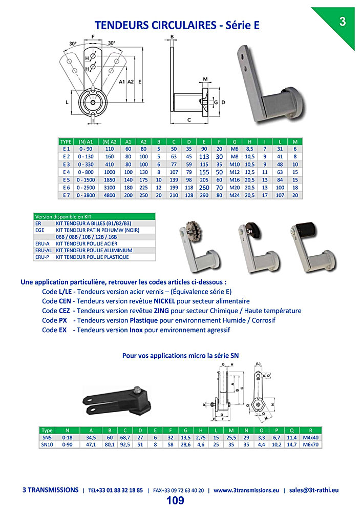 Tendeurs Automatiques chaines série E | 3 Transmissions